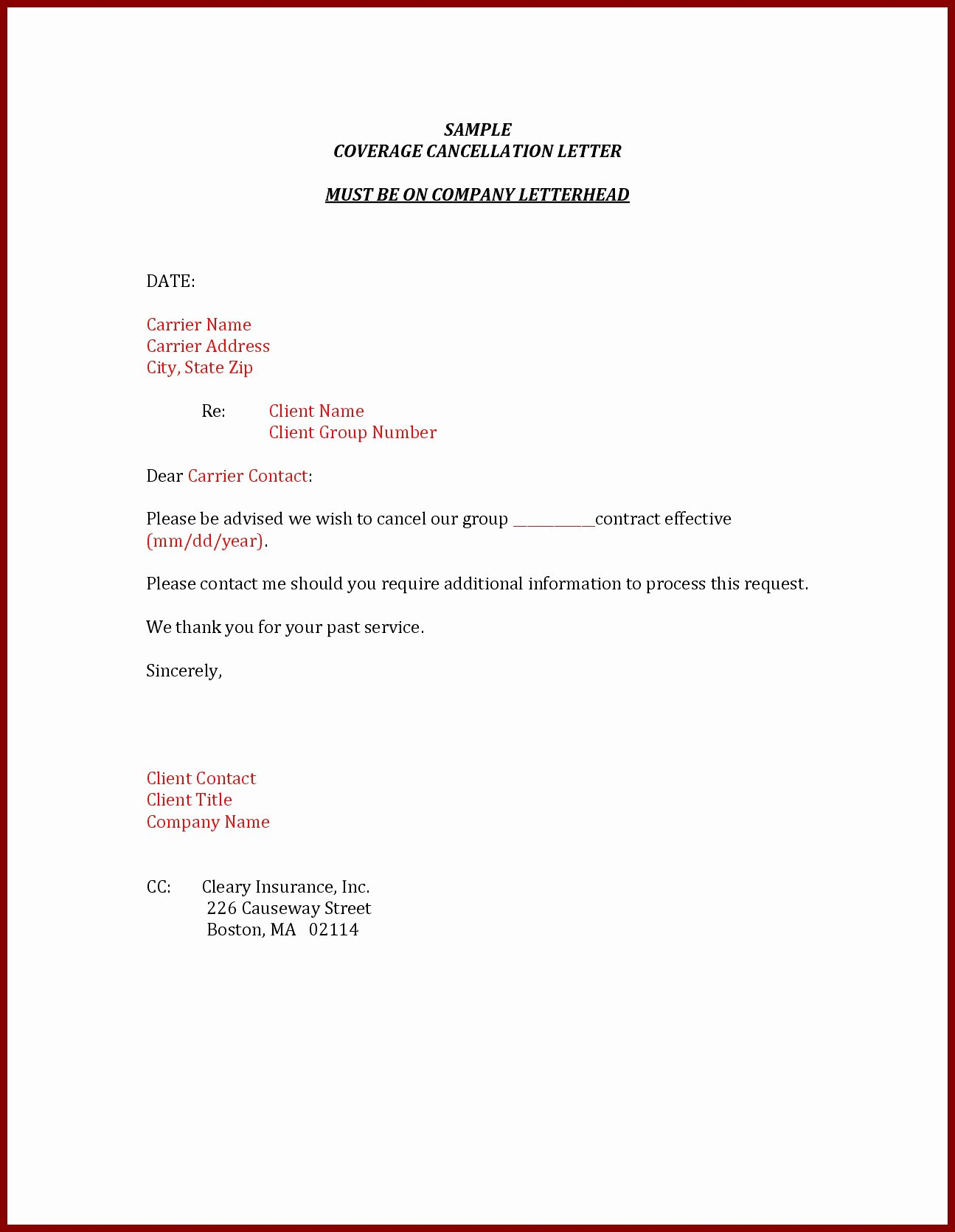 Policy Letter Template Inspirational Car Insurance Cancellation Letter Template Examples