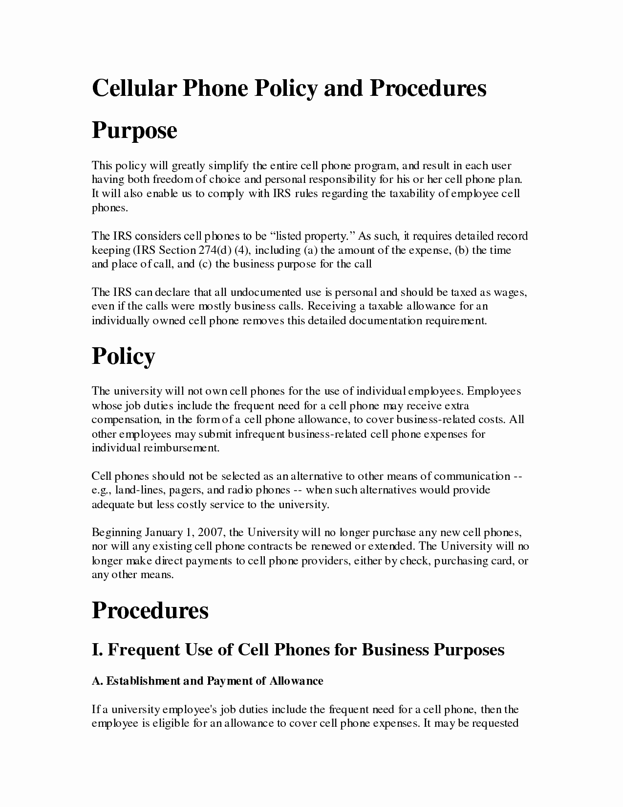 Policy Letter Template Luxury Printable Sample Cell Phone Policy form
