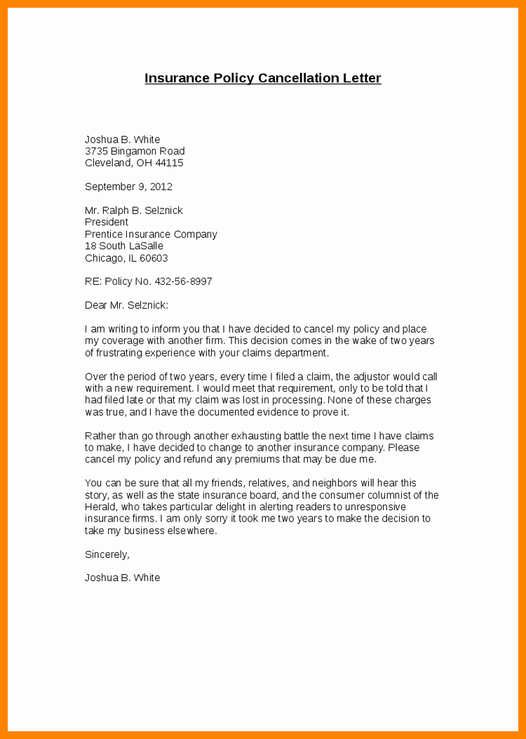 Policy Letter Template New Cancellation Insurance Policy