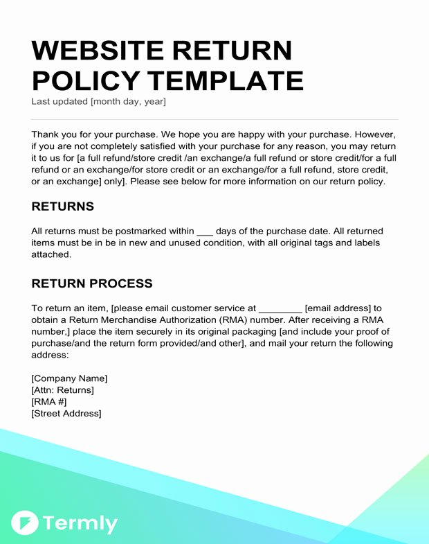 Policy Letter Template Unique Return Policy Templates & Examples Free to Download