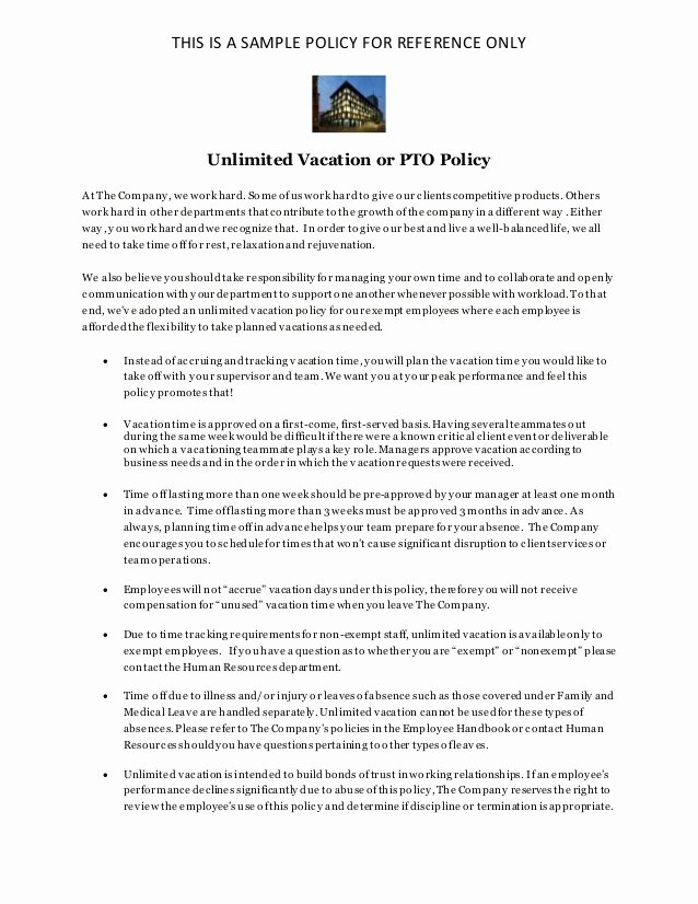 Policy Letter Template Unique Unlimited Vacation Policy Pto Policy Sample for