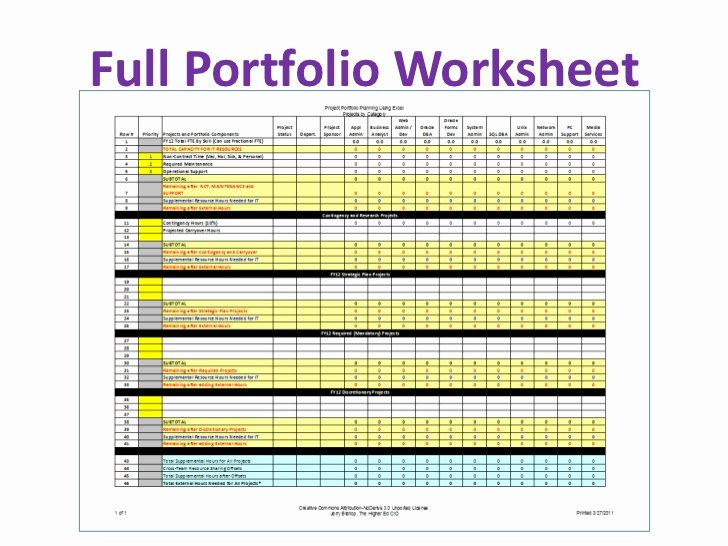Portfolio Management Template New Project Portfolio Planning Excel Spreadsheet