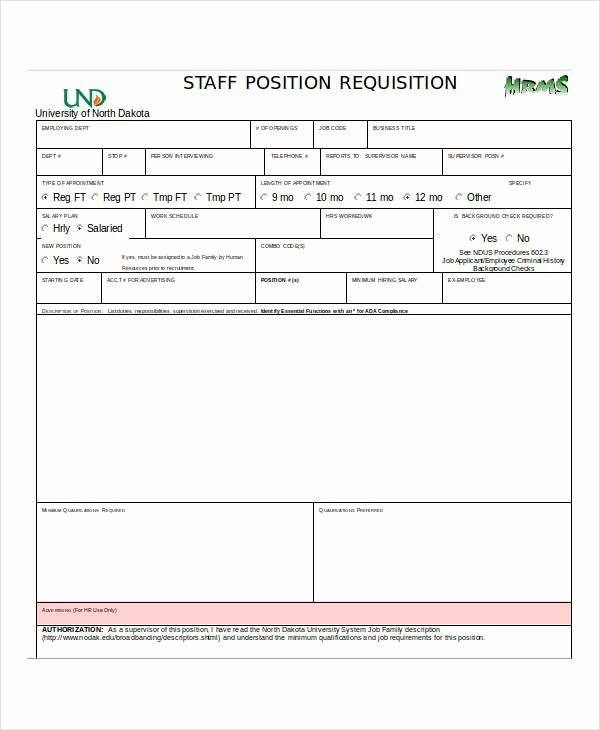 Position Requisition form Awesome 32 Requisition forms In Doc