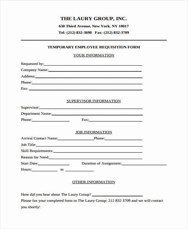 Position Requisition form Awesome 43 Free Requisition forms