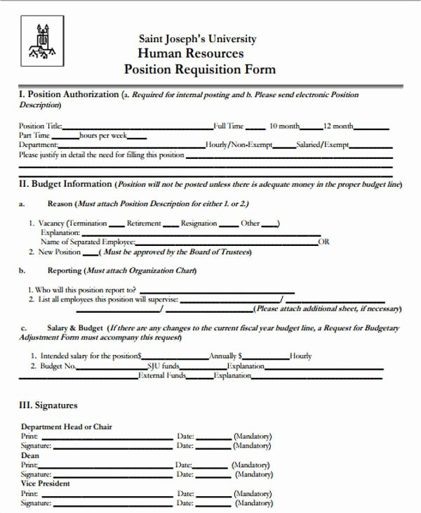 Position Requisition form Awesome Job Requisition form Sample 10 Free Documents In Word Pdf