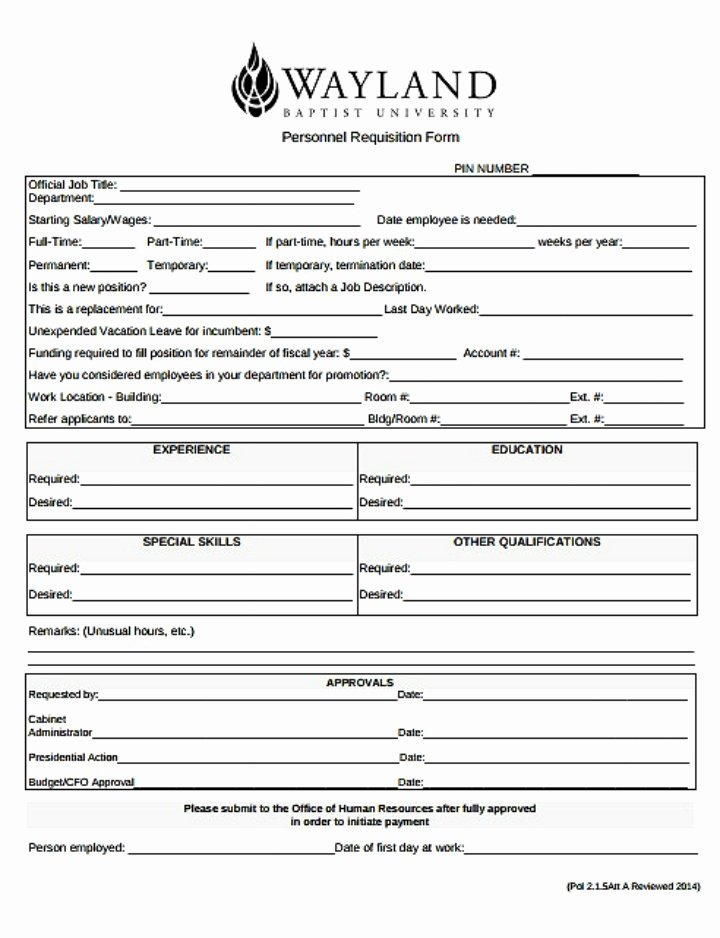 Position Requisition form Best Of 8 Personnel Requisition form Templates Pdf