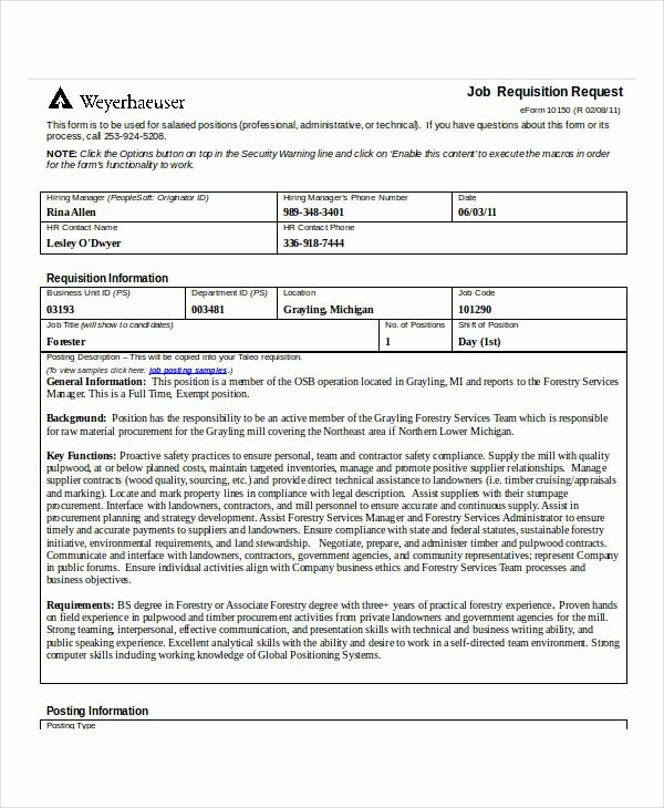 Position Requisition form Elegant 32 Requisition forms In Doc