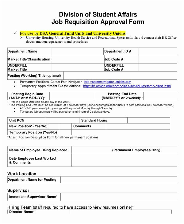 Position Requisition form Inspirational 11 Job Requisition form Sample Free Sample Example