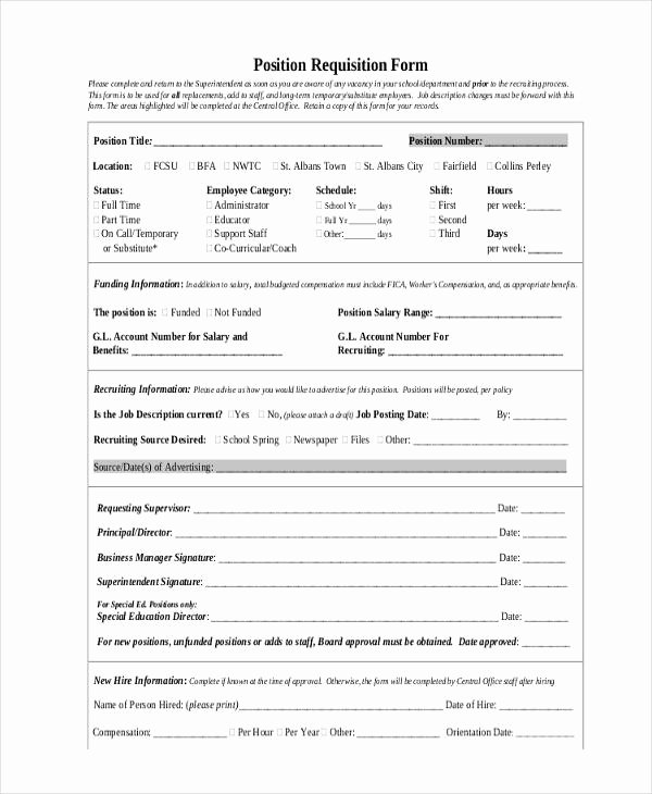 Position Requisition form Lovely Job Requisition form Sample 10 Free Documents In Word Pdf