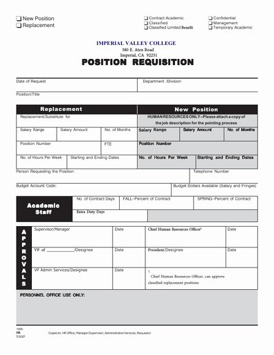 Position Requisition form Lovely Position Requisition Imperial Valley College Imperial