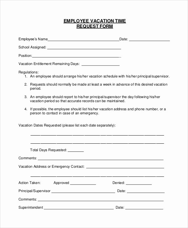 Position Requisition form Template Awesome Sample Vacation Request form 8 Examples In Pdf Word