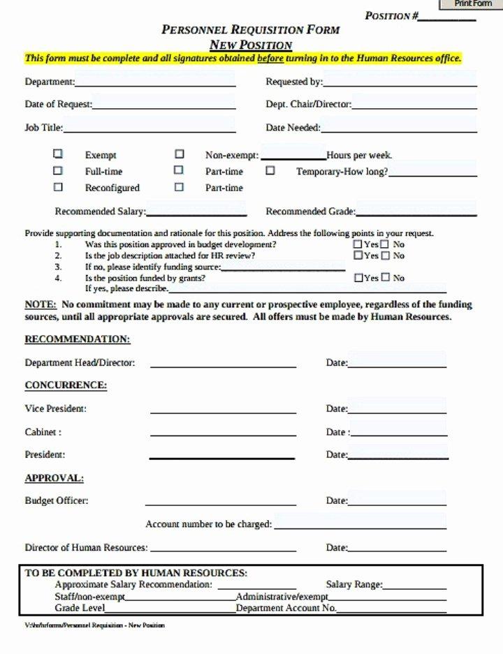 Position Requisition form Template Elegant 8 Personnel Requisition form Templates Pdf