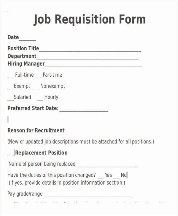 Position Requisition form Template Luxury Requisition form In Doc