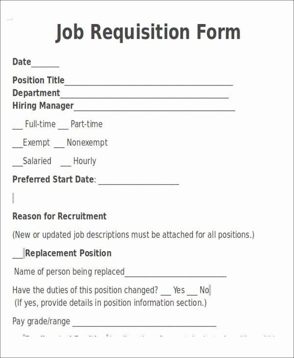 Position Requisition form Template Unique 22 Requisition forms In Doc