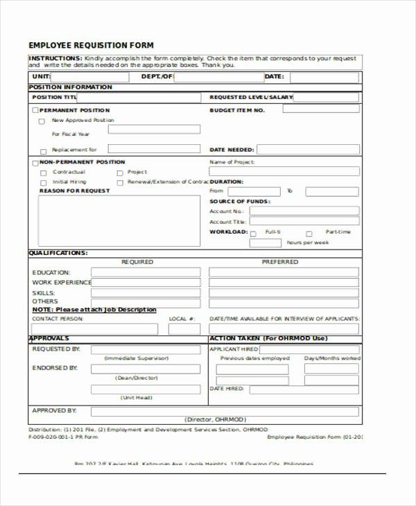 Position Requisition form Template Unique Requisition forms In Excel