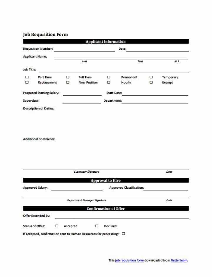 Position Requisition form Unique 8 Personnel Requisition form Templates Pdf
