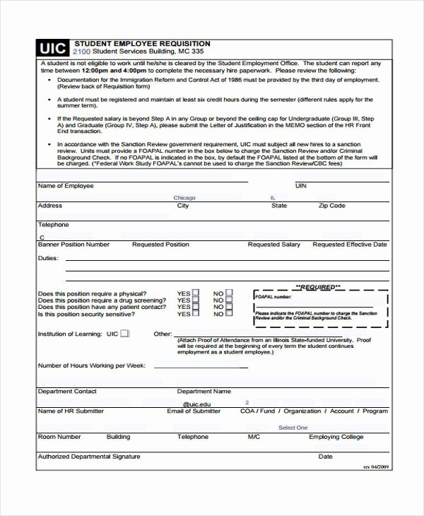 Position Requisition form Unique 85 Requisition form In Pdf