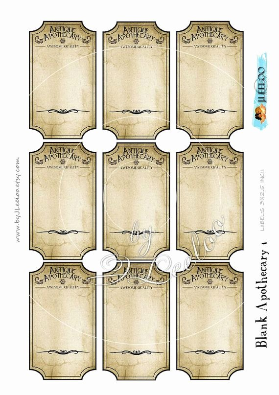 Potion Label Template Beautiful Blank Apothecary Editable Printable Tags Label Poison