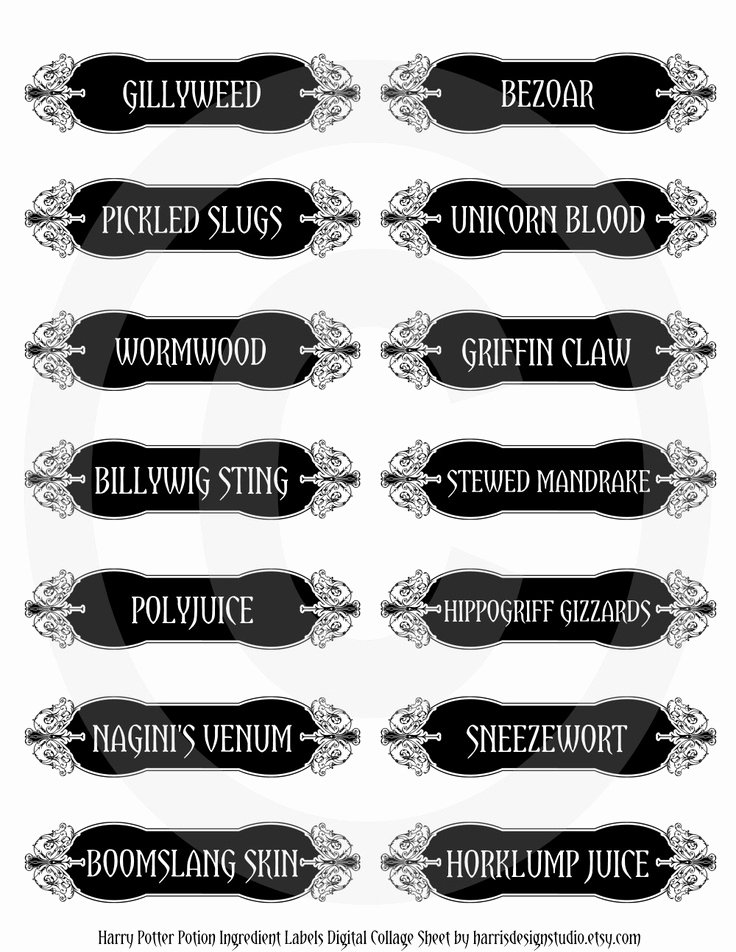 Potion Label Template Best Of Harry Potter Potion Ingre Nt Labels Digital Collage