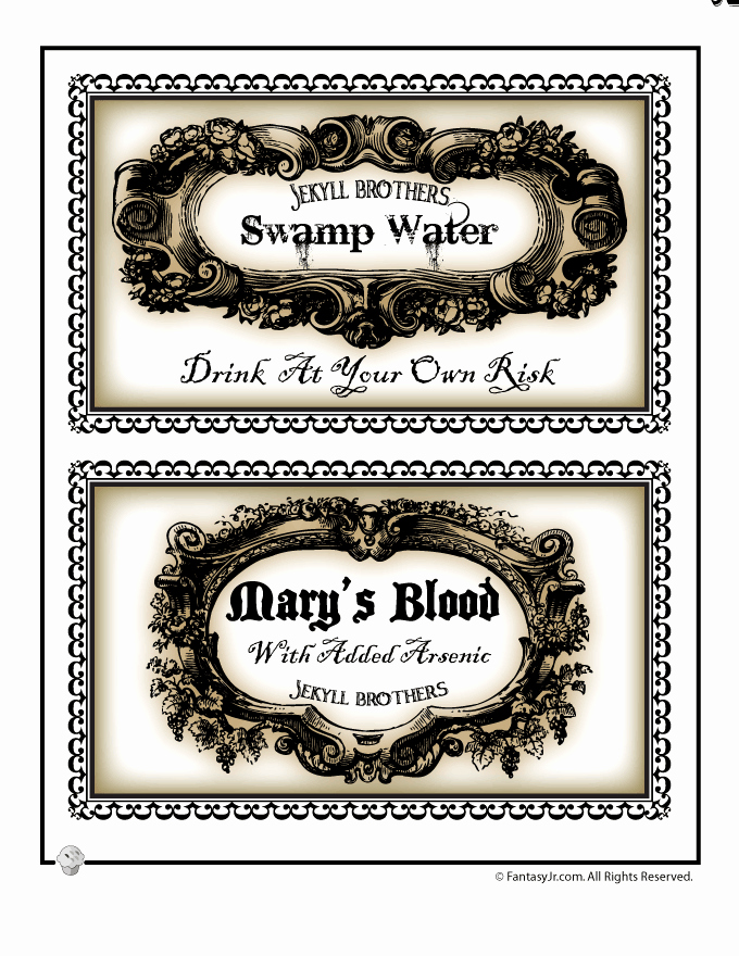 Potion Label Template Elegant Halloween Labels to Print for Bottles and Potions