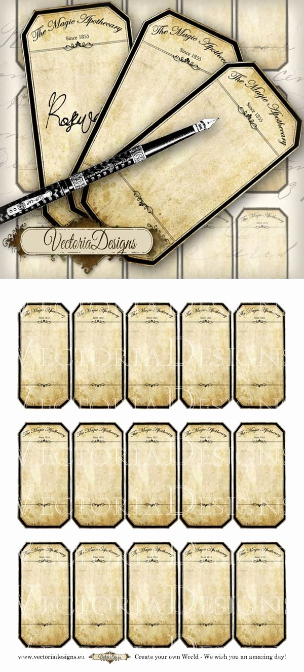 Potion Label Template Elegant Printable Blank Apothecary Labels by Vectoriadesigns