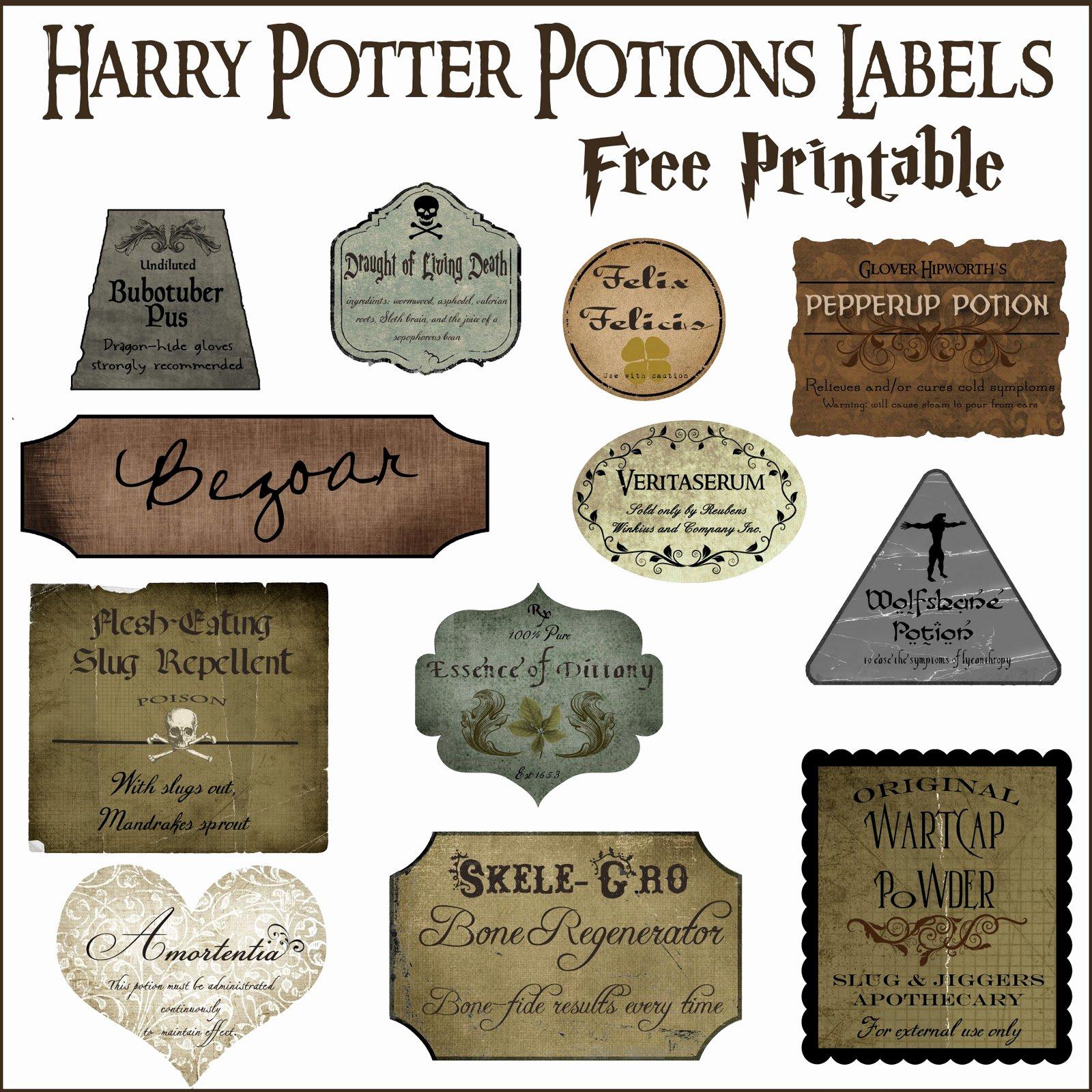 Potion Label Template Lovely Harry Potter Potion Label Printables