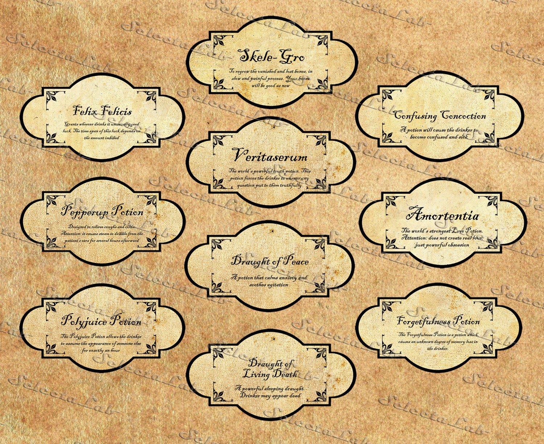 Potion Label Template Unique Digital Image Label Harry Potter Inspired Potion by Aramislab