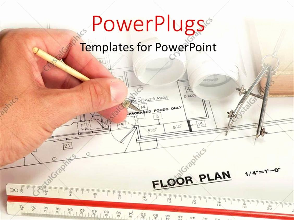 Powerpoint Floor Plan Template Unique Powerpoint Template Architect Drawing the Floor Plan Of A