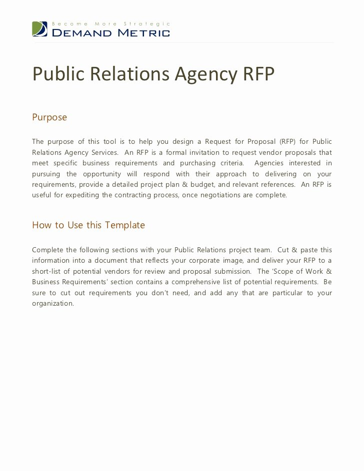 Pr Contracts Template Fresh Public Relations Agency Rfp