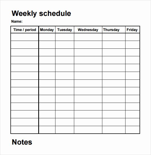 Practice Schedule Template Awesome Blank Schedule Template 6 Download Free Documents In Pdf