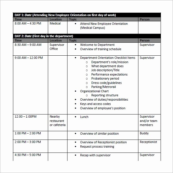 Practice Schedule Template Fresh Sample Training Plan