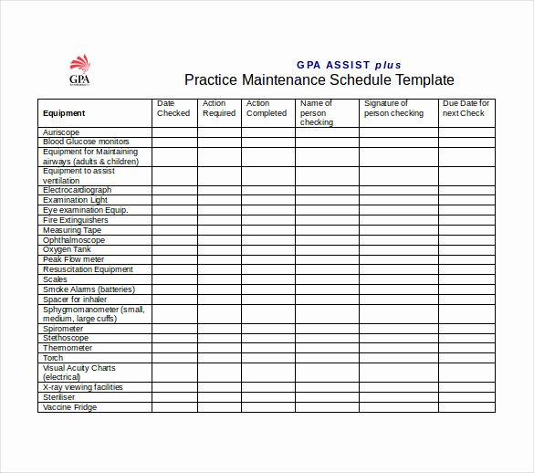 Practice Schedule Template New Maintenance Schedule Templates 35 Free Word Excel Pdf