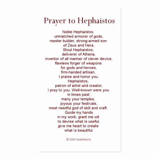 Prayer Card Template Elegant Hephaestus Prayer Card Double Sided Standard Business
