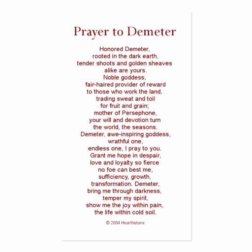 Prayer Card Template Free Fresh Demeter Prayer Card Double Sided Standard Business Cards