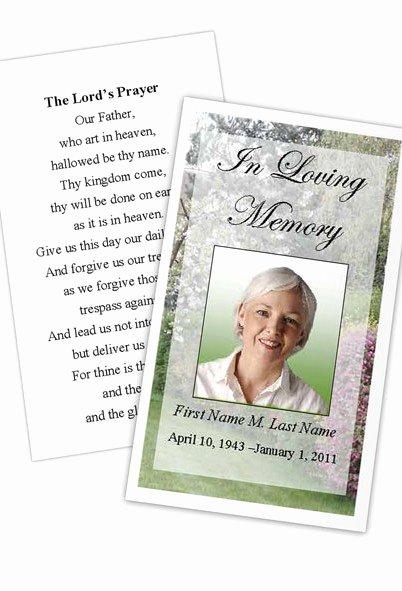 Prayer Card Template Free Fresh Memorial Prayer Card Spring Garden Template