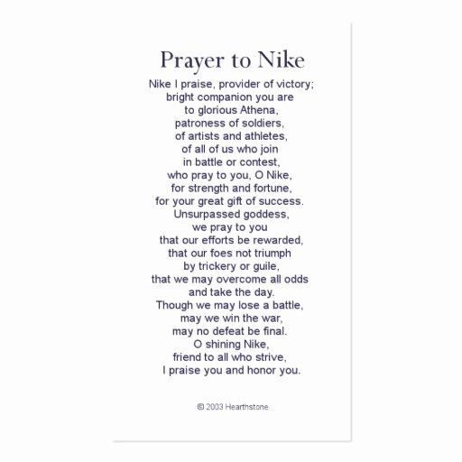 Prayer Card Template Free New Nike Victory Prayer Card Business Card Template