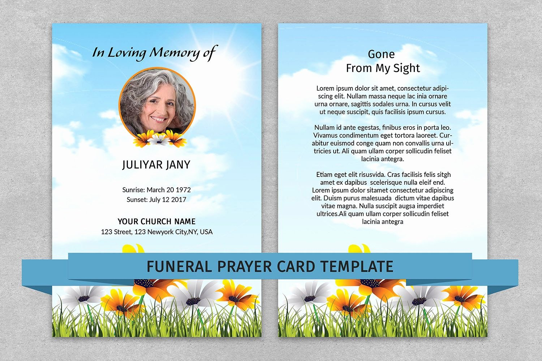 Prayer Card Template Luxury Memorial Prayer Card Template