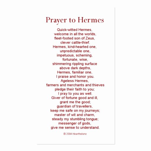 Prayer Card Templates Free Awesome Hermes Prayer Card Business Card Template