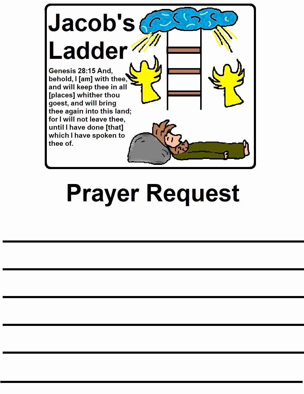 Prayer Request Cards Template Unique Jacob S Ladder Sunday School Lesson