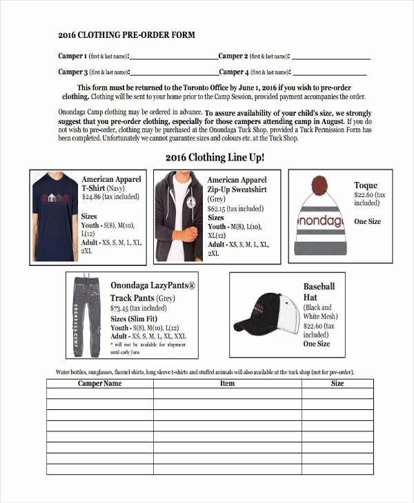 Pre order form Template New 9 Clothing order forms Free Samples Examples format