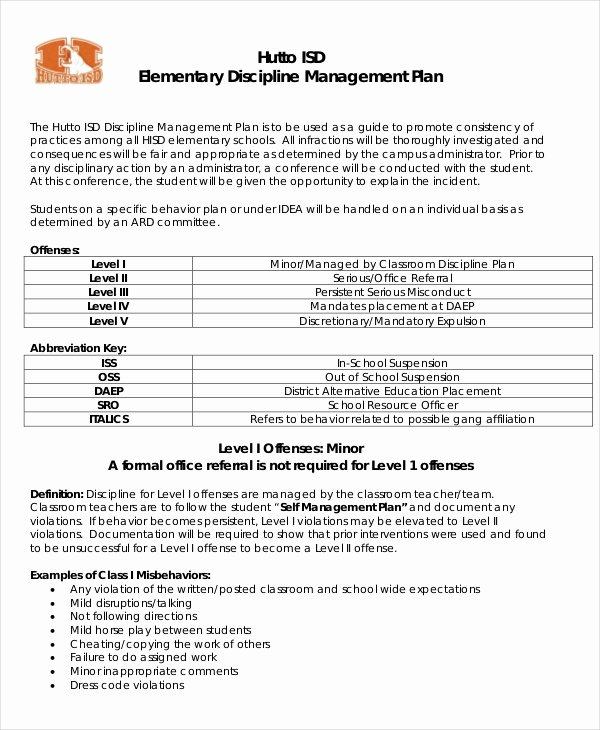 Preschool Discipline Policy Template New 11 Classroom Management Plan Templates Free Pdf Word