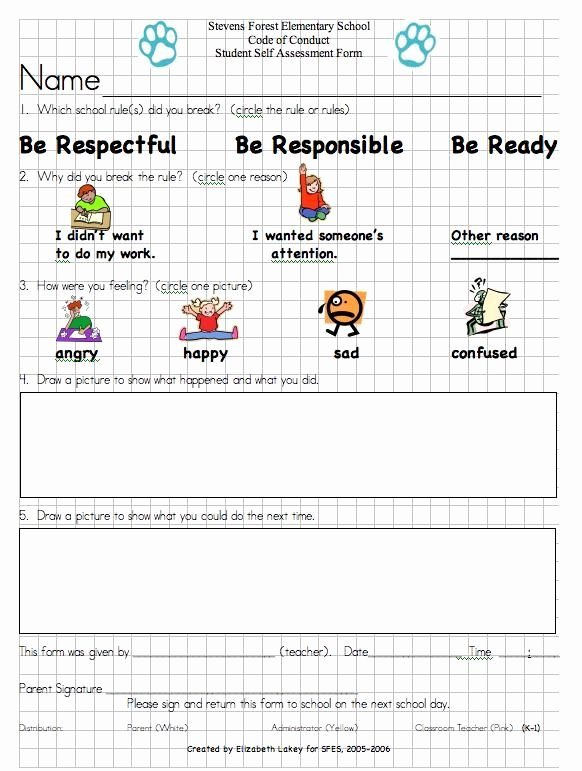 Preschool Discipline Policy Template Unique Student Discipline Reflection form Template