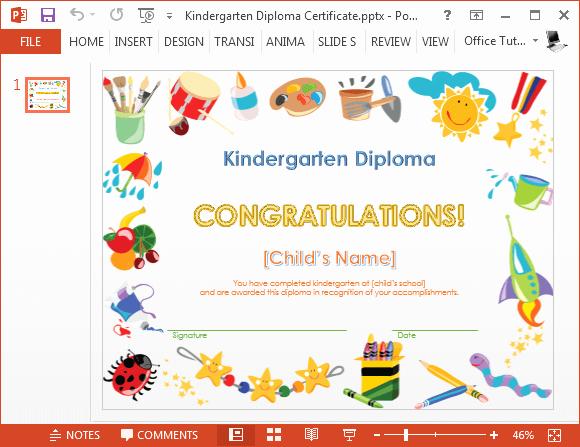 Preschool Graduation Program Template Best Of Kindergarten Diploma Certificate Powerpoint Template
