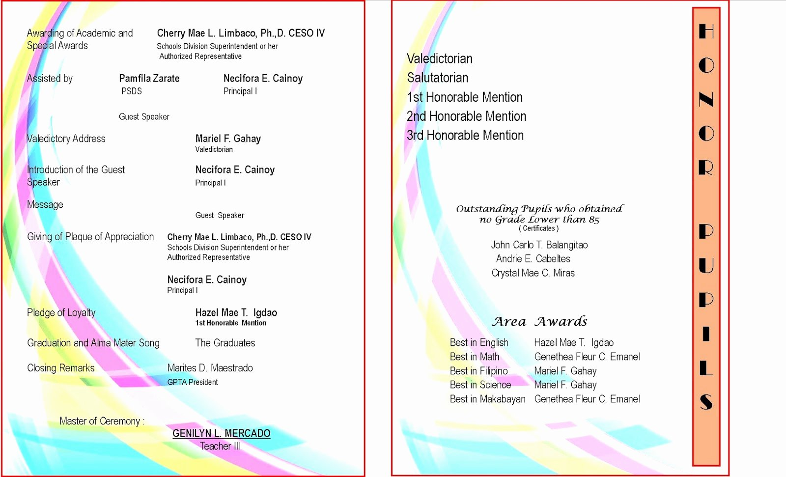 Preschool Graduation Program Template Fresh 2015 2016 Graduation Program New Template Deped Lp S