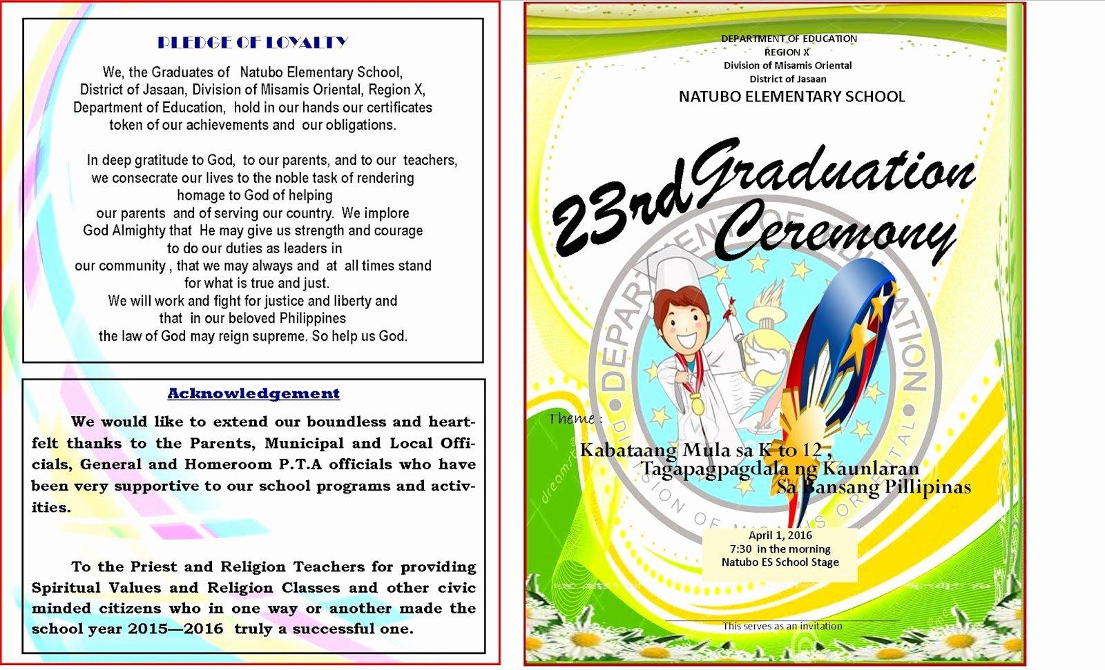 Preschool Graduation Program Template Lovely 2015 2016 Graduation Program New Template Deped Lp S