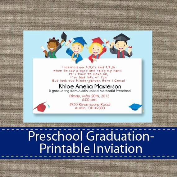 Preschool Graduation Program Template Luxury Preschool Graduation Invitation Diy Printable