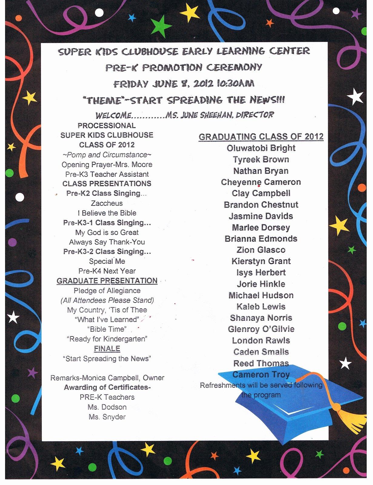 Preschool Graduation Program Template Luxury Reed S Pre K Graduation