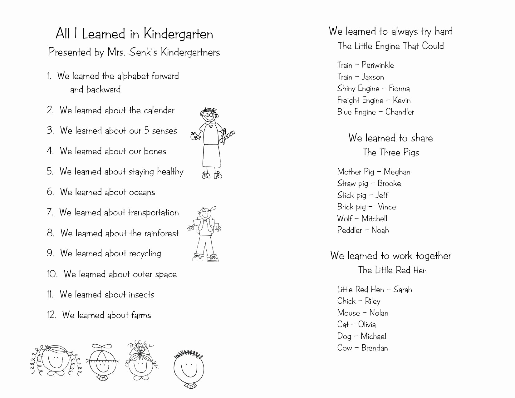 Preschool Graduation Programs Template Inspirational End Of the Year Program