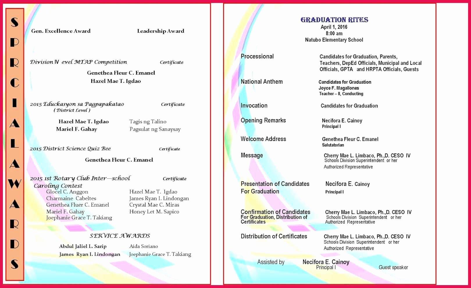 Preschool Graduation Programs Template Inspirational Graduation Program Template