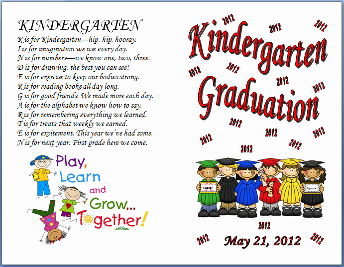 Preschool Graduation Programs Template Inspirational Keeping Focused Kindergarten Graduation 2012